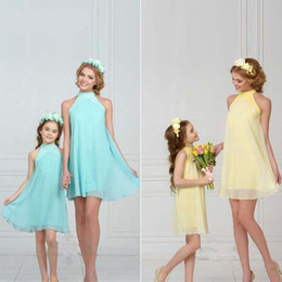 87cad3f6f3 Family Matching Outfits 2018 New Summer Mom and Kid Solid Color Chiffon  Dress Occident Style Mom Daughter Dress Clothes 4 Color