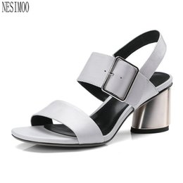 7025704f9 wholesale 2018 Western Style Women Sandals Shoes Woman Ankle Strap  Slingback Square High Heel Ladies Wedding Shoes Size 34-42