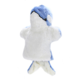 quality puppets UK - 1pcs Animal Large Hand Puppet Cartoon Dolphin Puppet Plush Doll Baby Educational Toys Christmas Birthday Gift