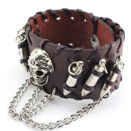 $enCountryForm.capitalKeyWord NZ - Fashion Men's Black PU Leather Wristband Adjustable Skull Metal Chain Bracelet Punk Biker Rock Gothic Cool Bracelet S3