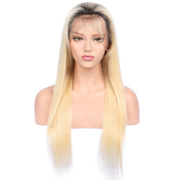 Discount blonde lace wig european - Full Lace Ombre Human Hair Wigs Glueless 1b 613 With Baby Hair Pre Plucked Brazilian Remy Hair Ombre Blonde Lacefront Wi
