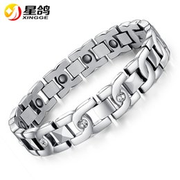 Discount magnets energy - silver Healthy Magnetic Bracelet for Women Men Stainless Steel Chain New Fashion Bio Energy Magnet Anti-radiation Bracel