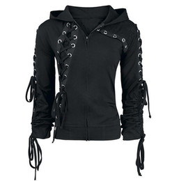 8056fb70eff1 2018 Gothic Punk Women Hoodies Lace up Hooded Long Sleeve Casual Harajuku  Darkness Autumn winter Goth Black Sweatshirt Plus Size Y18102202