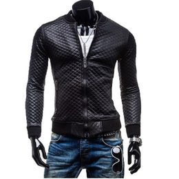fa8cc6fe54 New Winter Slim Men s Black Plaid PU Leather Jacket Top Quilted Thick  Collar Casual Washed Leather Motorcycle Jacket Coat 701413