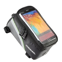"Panniers For Bikes Canada - ROSWHEEL 4.8"" 5.7"" Waterproof Cycling Bike Bicycle Bags Pannier Frame Front Tube Bag For Cell Phone MTB Bike Touch Screen Bag"
