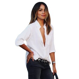 9ada27de Womens Linen Clothing NZ - 2017 Autumn Fashion White Shirt Women Turn Down  Collar Long Sleeve