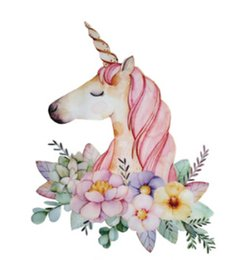 Wholesale diy heat patches resale online - DIY Sweet Unicorn Magic Stickers for Tshirts Hoodies Pullovers Household Iron Thermal Transfer Heat Transfer Patch