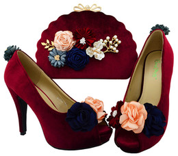 $enCountryForm.capitalKeyWord NZ - Most popular wine color women pumps with flower decoration african shoes match handbag set for lady dressing BL002 heel 11CM
