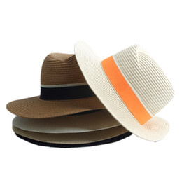 Straw Hat Trilby NZ - Fashion Women Straw Wide Brim Sun hat Woman Summer Fedora Cap Sunhat Trilby panama Hat Gangster sombrero Cap Free Shipping 20