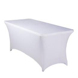 6ft спандекс прямоугольные установлены скатерть украшения отель банкет свадьба стрейч стол обложка белый / черный Оптовая