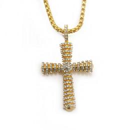 $enCountryForm.capitalKeyWord NZ - Retro alloy Jesus Cross Hip hop Pendant Necklace FULL Rhinestones gold plating jewelry Hiphop styles mens necklace