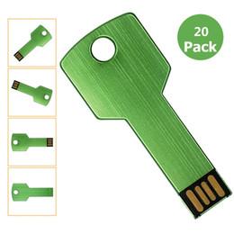 $enCountryForm.capitalKeyWord NZ - Bulk 20pcs Metal Key 8GB USB 2.0 Flash Drives Blank Media Flash Memory Stick for PC Laptop Tablet Thumb Storage Pen Drives Multicolors