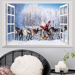 wholesale gift boxes europe Australia - 12PCS Christmas 3D Stickers Cartoon Santa Claus Milu deer Gift giving wall stickers Wallpapers Waterproof Can Be Removable Home Decoration