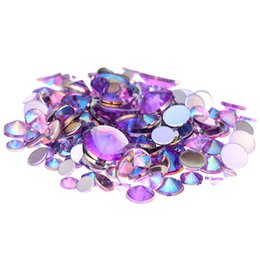 Wholesale DIY Rhinestones Light Purple AB mm mm mm mm And Mixed Sizes Flatback Pointed Glue On Stones For D Nail Art Decorations