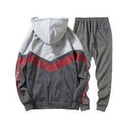 34c3e4c85b2f Mens Sports Tracksuits Running Athletic 2pcs Clothing Sets Hooded Zipper Jackets  Long Pencil Pants Suits