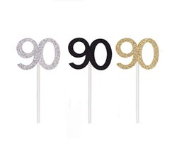 50pcs Golden Silver Black 90 Number Cupcake Toppers 90th Birthday Celebration Cake Decors Celebrating Anniversary Party Decor