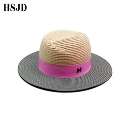 letter Large Wide Brim Straw Hat for Women 2018 New Summer Anti-UV Beach hat  M panama straw fedora women s travel Sun cap da1834fdd3c7