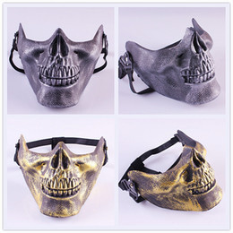 full protective paintball mask 2019 - 100pcs CS Skull Skeleton Airsoft Paintball Half Face Protective Mask For Halloween Gift cheap full protective paintball