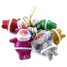 Decor Ornament Canada - 6PC Colorful Christmas Santa Hanging Decoration Ornaments Christmas Tree Home Multicolor Party New Year Decor Happy