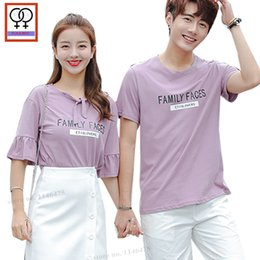 9dfe56b1dd matching couple clothes 2019 - Sweetheart Lovers Couple Clothes Matching T- Shirts Summer Leer Printed