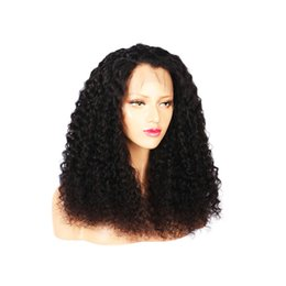 Fast unprocessed human hair online shopping - Fast shipping in stock aaaaa unprocessed virgin remy human hair long natural color afro curly full lace wig for black women