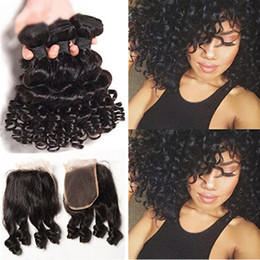 Discount 14 inches curly hair - New Arrival 9A Mongolian Human Hair With Closure Aunty Funmi 3 Bundles With Closure Free Part Romance Curly Weaves With