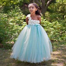 $enCountryForm.capitalKeyWord UK - mint and ivory full-length ball gown flower girl dress new 2019 most beautiful one shoulder floral boidce tulle girls party dresses flower