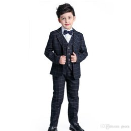 a1821f617 Children suit Formal Gentleman New 2017 Spring Baby Boy Plaid Suits Plaid  Blazers Tuxedo Sets Kids 2-12 Y Clothing