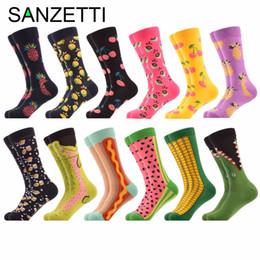 7de079180371 SANZETTI 12 Pairs lot Funny Men's Colorful Combed Cotton Wedding Socks  Novelty Fruit Multi Set Dress Casual Crew Happy Socks