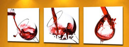 Good Paintings Australia - handmade good quality 3 piece painting contemporary oil paintings wine glass oil paintings canvas decoration home
