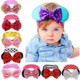 $enCountryForm.capitalKeyWord NZ - Fashion Baby Sequins Headbands Europe Striped Printed Bow Headwear For Girls Kids Floral Polka Dot Hair Accessories B11
