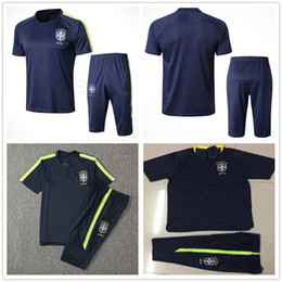 soccer training shirts Canada - 2018 World Cup National Brasil Short Sleeve Training Suit Custom Blue Yellow JESUS COUTINHO Brasil Soccer Football Shirt Tracksuit Kit