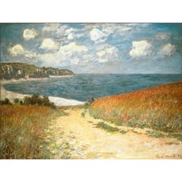$enCountryForm.capitalKeyWord NZ - Beautiful oil painting by Claude Monet Path Through the Corn at Pourville, art on canvas Hand painted High quality