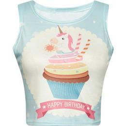 Women Crop Top 2018 Summer Cute Cartoon Birthday Unicorn Cake Printed Lovely Slim Fit Tank Kawaii Skinny Vest Cami For Girl Blue