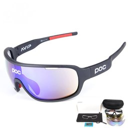 5b379c3f512 Poc Polarized Sports Cycling Glasses Sunglasses with 5 Interchangeable  Lenses for Men Women Cycle Bicycle Running Fishing Driving Golf Sun