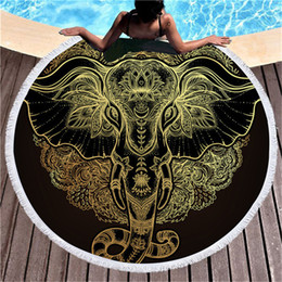 Luxury beach toweLs online shopping - Elephant Bohemian Tassel Tapestry Luxury Black cm Round Beach Towel Large for Adults Microfiber Toalla Absorbent Blanket Mats