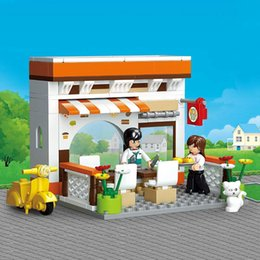 Sluban Blocks NZ - 134Pcs Sluban 2017 New Casual Diner SimCity My Building Blocks Bricks Toys Forge Mini World minis Kids Toys Free Shipping