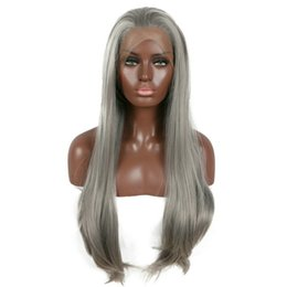$enCountryForm.capitalKeyWord Australia - Free Shipping Long Gray Synthetic Lace Front Wig Silver Grey Soft Natural Hairline Heat Resistant Glueless Synthetic Hair Sexy Wigs 26inches