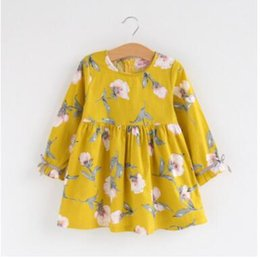 girls pleated skirts UK - Spring and Autumn Girls Kapok Doll Shirt Skirt Flowers Long Sleeve Medium Children Print Princess Skirt