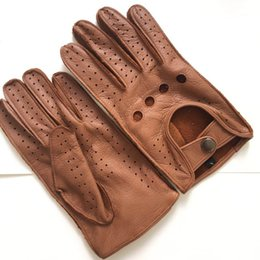 0456e5c17 Free shipping Men's Fall and Winter Genuine Leather Gloves New Fashion Brand  Brown Warm Driving Unlined Gloves Goatskin Mittens