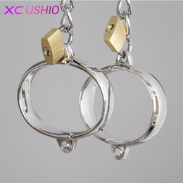 Metal ankle handcuff online shopping - 1 Pair Stainless Steel Female Male Handcuff Metal Ankle Cuffs Wrist Cuff For Couple bdsm Bondage Restraints Adult Game Sex Toys Y1892105