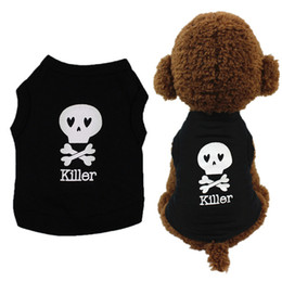 Wholesale XS L Pet Dog Vest Skull Killer Cute T Shirt Spring Summer Dog Shirt Pet Clothes For Dogs Cats Puppy Dog Clothes