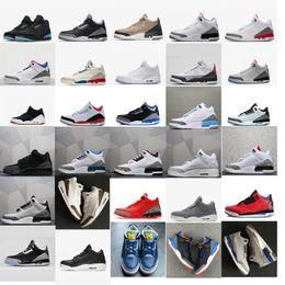 97b25bc3658 Zapatillas de baloncesto para hombre 3s retro j3 JTH Cemento blanco negro  Tan Mocha Quai 54 Oreo Rojo Azul UNC Tinker aj3 Zapatillas Jumpman III con  caja