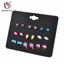 China Sweets Stud Earring Set for Girls Cute Kiss Note Kids Bike Ear Children Jewelry suppliers