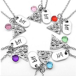 Wholesale New Arrival BFF Pizza Alloy Pizza Colorful Crystal Dangle Pendant necklace Best Friend Forever Friendship Jewelry