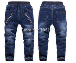 jeans for baby girls Canada - 2014 Brand New baby Denim Jeans Spring Autumn Children Casual pants zipper pocket kids boys girls cowboy trousers fit for 3-7y