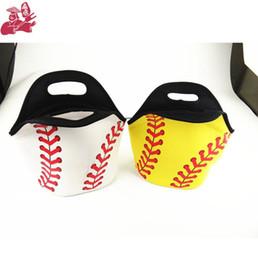 Cool tote lunCh bag online shopping - Neoprene Softball Lunch Bag Baseball Tote Cooler Bags Food Bag Food Carrier Storage Bags Colors Kids Handbag OOA5386
