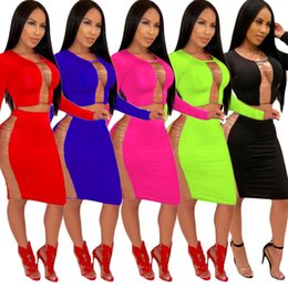 Wholesale womens long sleeve skirt suit patchwork see through sexy skirt set bodycon solid color dress skirt high quality panelled piece dress hota3
