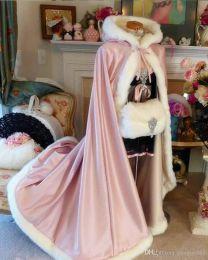 $enCountryForm.capitalKeyWord Australia - 2019 new High Quality Winter Bridal Cloak Jacket Long Cape Tippet Shawl Coat Bolero Fabric Custom Made With Faux Fur Chapel Train White