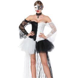 Venta al por mayor de Negro blanco de manga larga corsé Steampunk traje Burlesque vestido gótico Ropa Espartilhos E Corpetes Sexy Korse para mujeres
